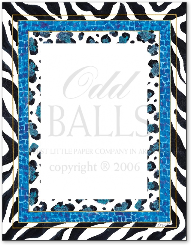 Lapis Zoopus Paper - A great animal print paper that is perfect for any party.  This laser party is designed with zebra print bordered and has a blue inner border with various animal print designs. This